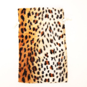 5x8 Pack of 10 Jaguar Fur Fabric Bags -Animal Faux Fur Bags
