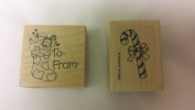 2 Pc Christmas Wood Mounted Rubber Stamps