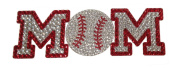 Crystal Heiress Rhinestone Sticker, Baseball Mom, 20cm by 6.4cm , Red/Silver