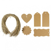 Wrapables 100 Gift Tags/Kraft Hang Tags with Free Cut String for Gifts Crafts and Price Tags
