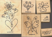 "STAMPIN UP- ""MERCI"" - MOUNTED SET OF 6"