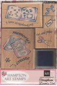 Karen Neuburger Scrapbook Lover's Wood Mounted Rubber Stamp Set