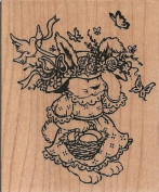 Spring Bunny Wood Mounted Rubber Stamp