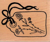 Rose Tag Wood Mounted Rubber Stamp