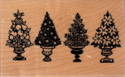 Christmas Topiary Wood Mounted Rubber Stamp