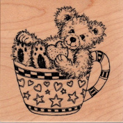 Fuzzy Bear in Teacup Wood Mounted Rubber Stamp