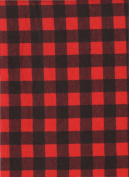 Red Buffalo Cheque Plaid Print Flannel Quilt Fabric ~ HALF YARD ~ Red & Black Paul Bunyan Shirting by Camelot Fabrics #2150015B ~ Flannel Quilt Fabric 100% Cotton 2.5cm Wide