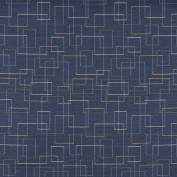 140cm C559 Blue, Gold, Green and White, Geometric Overlapping Squares, Durable Upholstery Fabric By The Yard