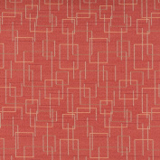 140cm C558 Orange, Gold and Green, Geometric Overlapping Squares, Durable Upholstery Fabric By The Yard