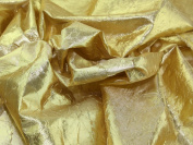 140cm wide Creased Lame Metallic Dress Fabric Gold - per 3 metres