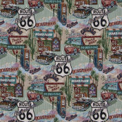 140cm Wide A011, Classic Route 66, Motels, Diners, and Gas Pumps, Themed Tapestry Upholstery Fabric By The Yard