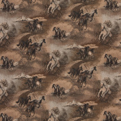 140cm Wide A021, Beige Wild Horses Galloping, Themed Tapestry Upholstery Fabric By The Yard