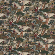140cm Wide A004, Close-up Golfers, Golf Course and Golf bags, Themed Tapestry Upholstery Fabric By The Yard