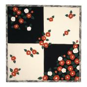 Camellia Black and White Japanese Kimono Print Chirimen Furoshiki Cloth