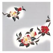 Camellia Grey Japanese Kimono Print Chirimen Furoshiki Cloth