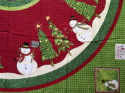 TOP HAT SNOWMAN by Debbie Mumm CHRISTMAS TREE SKIRT or ROUND TABLECLOTH Fabric Panel (Great for SEWING A TREE SKIRT, TABLECLOTH, QUILTING, SEWING, CRAFT PROJECTS, & More) 150cm x 150cm