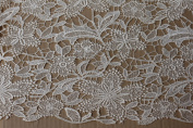 Beige Lace Fabric 130cm Width Polyester Hollow Embroidery France Fashion Bride Wedding Dress Fabric From Randyfabrics By The Yard