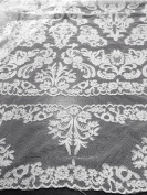 White Bridal Lace Corded Fabric 130cm Wide By the Yard