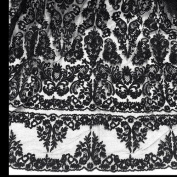 Black Bridal Lace Corded Fabric 130cm Wide By the Yard