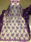 Purple Mesh w/ Embroidery Sequins Hand Beaded Lace Fabric 130cm Wide By the Yard