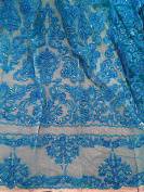 Turquoise beaded Sequins Bridal Lace Corded Fabric 130cm By the Yard