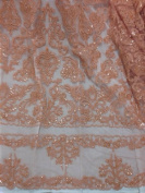Peach beaded Sequins Bridal Lace Corded Fabric 130cm By the Yard