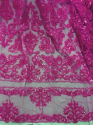 Fuchsia beaded Sequins Bridal Lace Corded Fabric 130cm By the Yard
