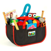 NEW Product! Needlecrafters Carryall and Tote (7-57) with Eleven Roomy Storage Pockets. For Knitters, Spinners, Weavers, and other craft enthusiasts. Heavy-duty BLACK Fabric with Firehouse RED Trim.