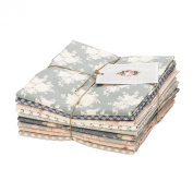 Tilda Summer Fair Floral Cotton Grey Pink Green Blue Cream Fabric 9 Fat Quarter Bundle