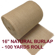 41cm Inch Natural Burlap Roll X 100 Yards. Hemmed Edges.