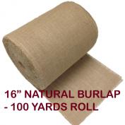 41cm Inch Natural Burlap Roll X 100 Yards. Hemmed Edges.