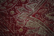Elegant Hand Printed Paisley Silk w/ Cotton Backing1`