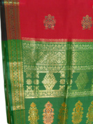 Pure Silk Red & Emerald Indian Sari Saree Fabric /w Gold Border