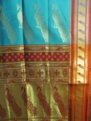 Pure Silk Teal & Burgundy Peacock Design Indian Sari Saree Fabric /w Gold Border