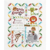Bucilla Baby 45716 Counted Cross Stitch Birth Record Kit, Little Explorers
