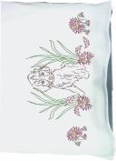 Fairway Needlecraft 83325 Perle Edge Pillowcases, Puppy Design, Standard, White