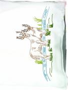 Fairway Needlecraft 83345 Perle Edge Pillowcases, Elk Design, Standard, White