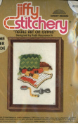 "Vintage 1975 Jiffy Stitchery ""Needle Art on Canvas"" Designed by Ruth Houseworth Features Various Needlepoint Tools Yarns Tape Measure Canvas Pillow Etc."