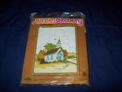"Vintage 1980 Sunset Stitchery ""Country Church"" Kit"