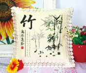 Chinese Painting Flowers Stamped Cross Stitch Pillow Case Kit -