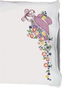 Fairway Needlecraft 83036 Perle Edge Pillowcases, Bonnet and Flowers Design, Standard Size, White