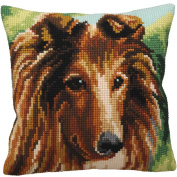 Collection D'art Lassie Pillow Cross Stitch Kit 15 3/4'X15 3/4'