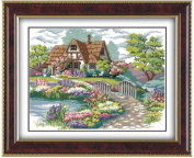 House cross stitch embroidery kit, and beautiful garden