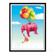 Elephants and Balloons 3D Stamped Cross Stitch Kit - 70cm By 100cm