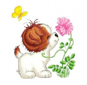 Flowers and puppy cute cross stitch embroidery kit