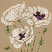 Maia White Poppies Counted Cross Stitch Kit 9 3/4'X9 3/4' 16 Count