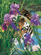 Candamar Designs 30907 Peeking Tiger Needle Point Kit, 28cm by 36cm