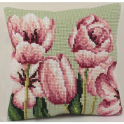 Collection D'art Tulipe A Gauche Pillow Cross Stitch Kit 15 3/4'X15 3/4'