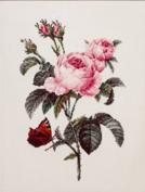 """The World of beautiful flowers Redoute"" COSMO cross stitch kit No.801 Rosa Pope Folia"