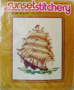 """""""Before the Wind"""" Sunset Stitchery Vintage Ship Crewel"""